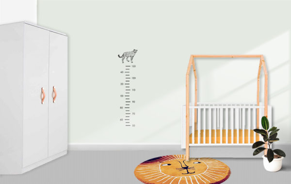 Muursticker groeimeter jongen meisje babykamer cheetah