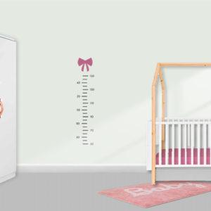 Muursticker groeimeter meisje babykamer strikje