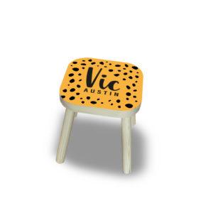 Kinder Krukje hout gepersonaliseerd oker geel zwart cheetah print